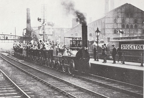 A replica of Locomotion makes its way through Stockton for the 100th anniversary of the Stockton and Darlington Railway in 1925